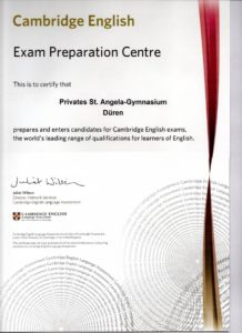 Cambridge Certificate CAE St Angela Schule Duren